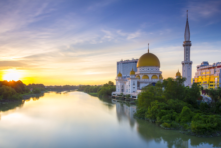 KLANG SELANGOR, MALAYSIA - Holy Mosque in Klang, Malaysia view during calm sunset with reflection at a river