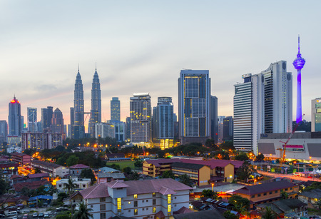 Kuala Lumpur, Malaysia - 22082015 : sunrise in the city center and klcc kuala lumpur Editorial