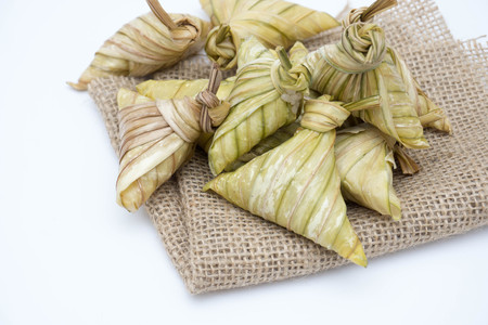 Closeup Ketupat Daun Palas ( Rice Dumpling With Palm Leaves ) At Farmers Malay Food in Hari Raya.
