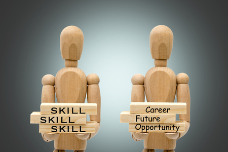 Business concepts, robots carry wooden blocks written Career, Future, Opportunity