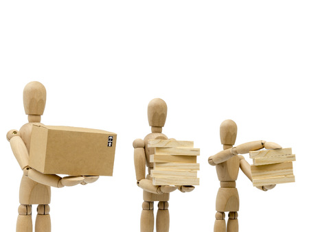 Business concepts, robots carry wooden blocks and boxes. Stock Photo