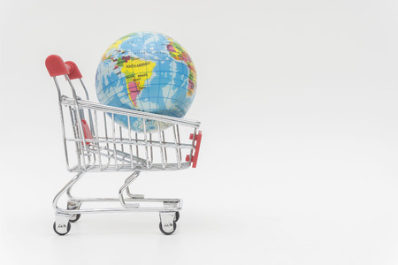 Earth in trolley, business concept and online business