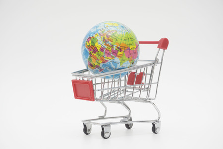 earth in a trolley of minimalist concept