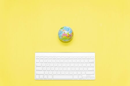keyboard and shopping trolley, minimalist concept Stock Photo