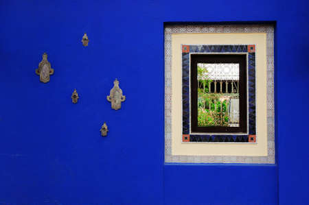 Moroccan sapphire Blue Wall Paint with window photo