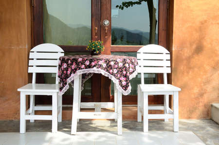 patio furniture: White Patio Furniture Set Stock Photo