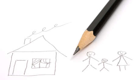 child's drawing: Child`s drawing on white paper Stock Photo