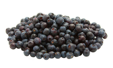 Isolated heap of blueberries on white background Stock Photo