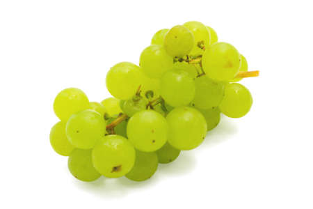 Bunch of green grapes on a white background Stock Photo