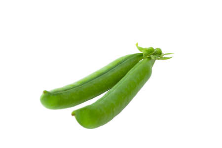 Green peas pods on a white background photo