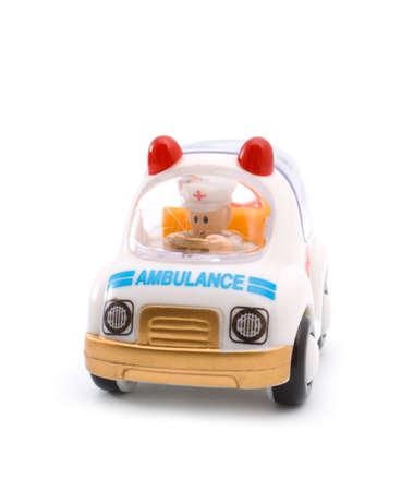 Toy ambulance car on a white background Stock Photo