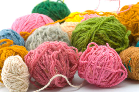 Set of threads for knitting of various colours   Stock Photo