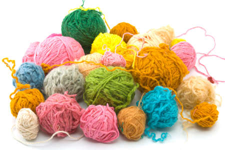 Set of threads for knitting of various colours photo