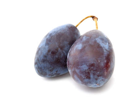 Two ripe plums on a whute background