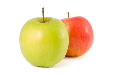 Two apples - green and red - on a white background