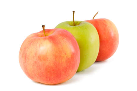 three apples - green and red - on a white background Stock Photo