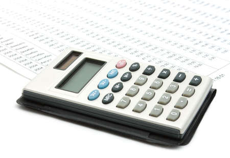 Single calculator on a stock-diagram. Business stil-life Stock Photo