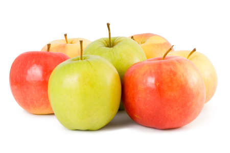 Some apples (green, red, yellow) on a white background