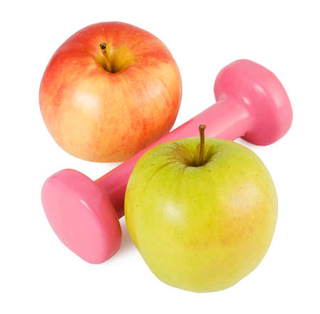 pink dumbbells and two apples on a white background in percent shape