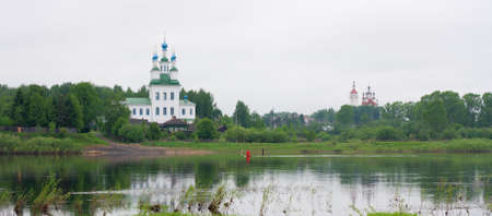 Totma-city (Vologda region, Russia) view with churches and river