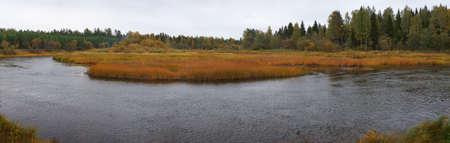 Panorama of a landscape with the river and wood. Autumn Stock Photo