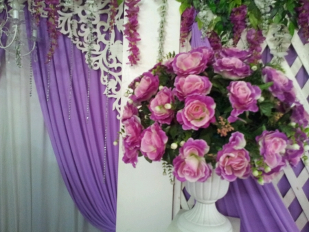 flowers bouquets at malay traditional wedding ceremony Stock Photo