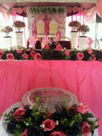 pink cheerful decoration malay wedding reception Stock Photo