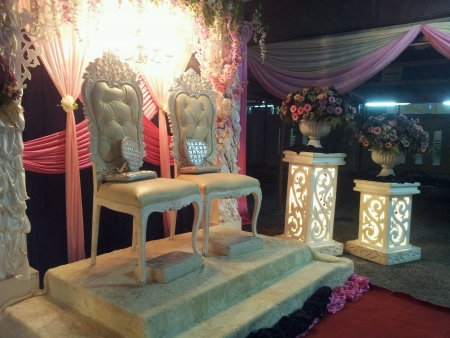 malay traditional wedding decoration setting at night