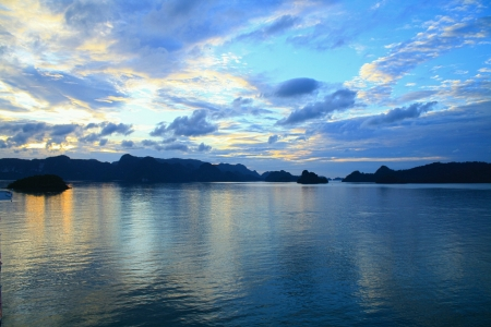 Amazing view of pulau langkawi during sunrise