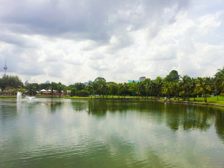reflection of the trees at tasik titiwangsa