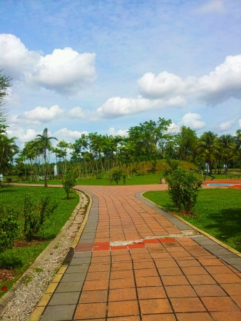 titiwangsa: Clean side walk with blue sky background Stock Photo