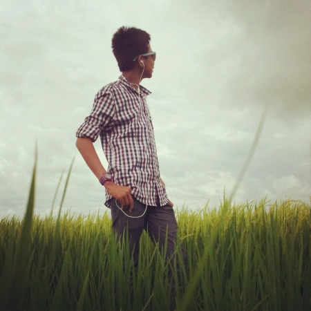 padi: Man at padi field looking at the sky