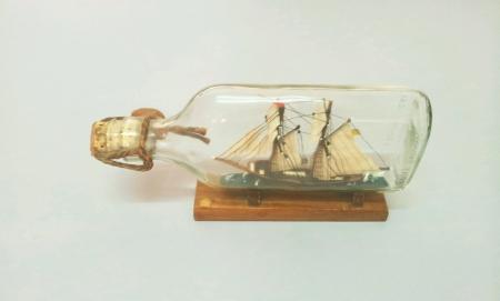 Ship inside bottle isolated