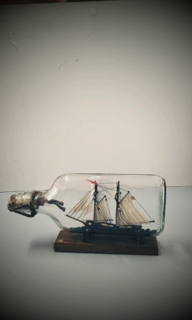 Vessel inside glass bottle isolated Stock Photo