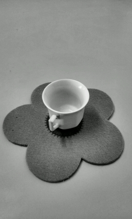 Black and white small cup of teacup Stock Photo