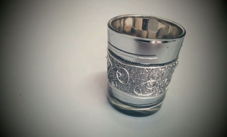 Silver mug for gift isolated