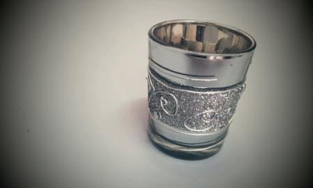 Silver mug for gift isolated