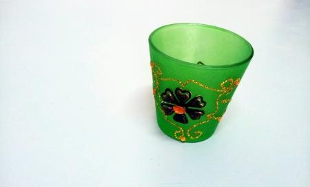 Green glass mug isolated