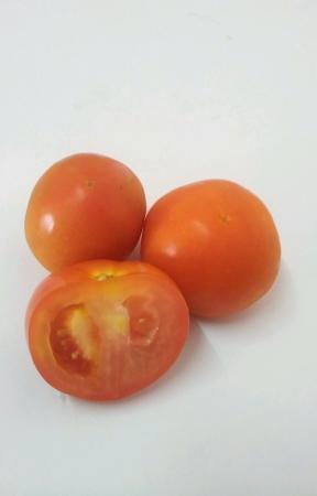 Three tomatoes isolated white background