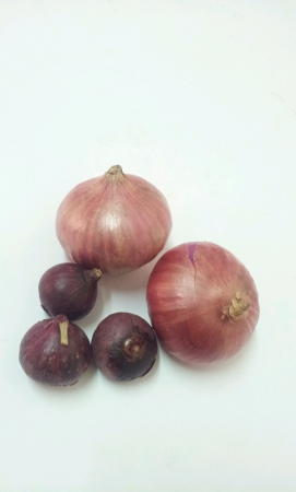 Red onion shallot with white background isolated Stock Photo