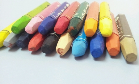 Set of colorful crayon Stock Photo