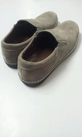 Pair of grey shoe isolated white background Stock Photo