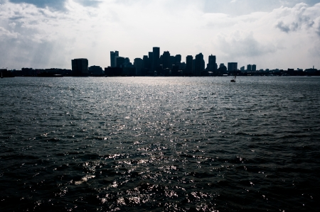 Boston skyline from the Atlantic Ocean Stock Photo - 17929734