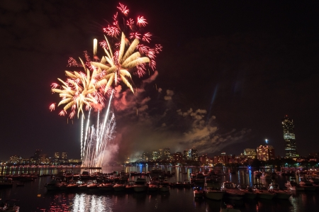 day and night: July 4th fireworks above the Charles River in Boston Stock Photo