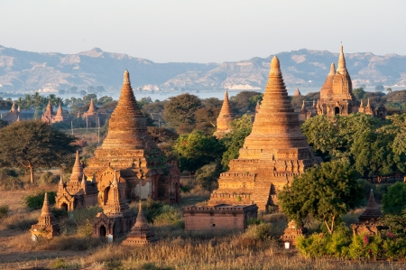 View from the Shwe Sandaw Pagoda during sunset in Bagan, Myanmar photo