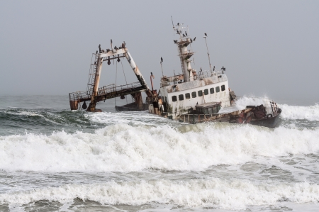 stranded: Zeila Shipwreck stranded on 25th August 2008 near Henties Bay on the Skeleton Coast in Namibia