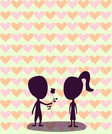 vector illustration silhouettes of a boy with a rose and a girl on the background of hearts on a green bright background Illustration