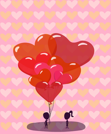 vector illustration vertical valentine's day card boy gives balloons in the form of hearts to a girl on a pink background with a pattern of hearts