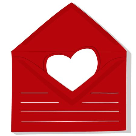 postcard one white paper blank empty heart in open red envelope recognition valentine's day
