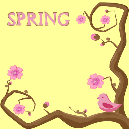 spring illustration two branches of a tree with sakura flowers on a yellow background, a pink bird sitting on a branch Illustration